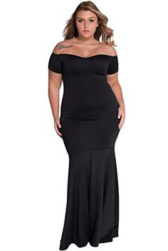 GloriaSarah Womens Off Shoulder Fishtail Plus Size Cocktail DressBlackLongXXXL * You can find out more details at the link of the image.