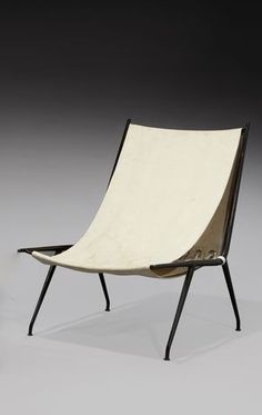 Franck Gillman; Enameled Metal, Canvas, Brass and Cord Lounge Chair, c1960.