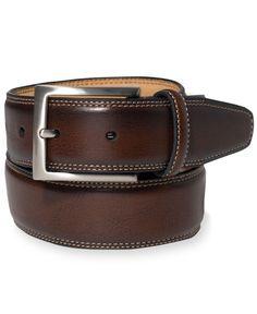 Tasso Elba 35MM Brown Grain Feather Edge Belt