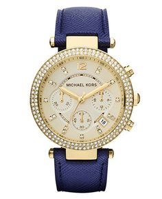 Love this watch!! So pretty!! Michael Kors Watch, Women's Chronograph Parker Navy Leather Strap 39mm MK2280