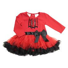 FAO Schwarz Girls Red Long Sleeve Bodysuit Tutu Dress with Black Accents