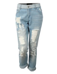 LE3NO Womens Lightweight Vintage Distressed Ripped Boyfriend Denim Jean Pants