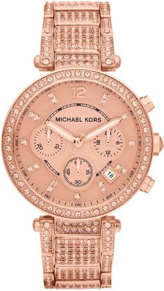 Michael Kors Midsize Rose Golden Stainless Steel Camille Chronograph Glitz Link Watch in Pink (rose golden) | Lyst