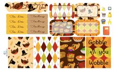 Gobble til You Wobble MIni Planner Sticker KIt/Thanksgiving Planner Kit/Fall Planner Kit/Fall Planner Stickers by TasseledPlanner on Etsy