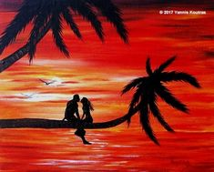 """""""Acrylic on Canvas"""" Code: Romantic at Sunset My YouTube Channel:  https://www.youtube.com/user/KoutrasArt"""