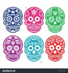 Mexican Sugar Skull, Dia De Los Muertos Colorful Icons Set Stock Vector Illustration 187188740 : Shutterstock