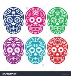 Mexican Sugar Skull, Dia De Los Muertos Colorful Icons Set Stock Vector Illustration 187188740 : Shutterstock