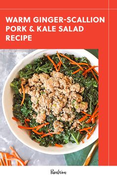 Not today, raw kale. We're making this warm ginger-scallion pork and kale salad and leaving the tough, chewy greens at home. #kale #salad #recipe Healthy Salads, Healthy Eating, Kale Salad Recipes, Shredded Carrot, Recipe Please, 500 Calories, Winter Food, Meal Prep, Pork Salad
