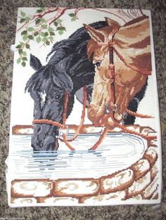 """Cross Stitch Horses Drinking from Well Finished piece 14"""" x 10""""  #Unbranded"""