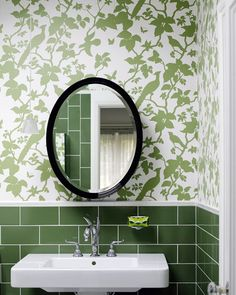 Florence Broadhurst wallpaper paired with green subway tile. It is traditional but still current. Bathroom Wallpaper Green, Green Wallpaper, Wall Wallpaper, Bathroom Green, Wallpaper Ideas, Green Subway Tile, Subway Tiles, Green Tiles, Tiles Uk