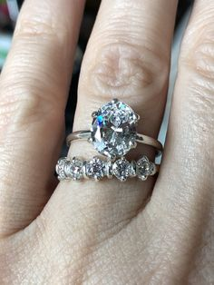 A Perfect Oval Cut Solitaire Russian Lab Diamond Bridal Set Antique Engagement Rings, Diamond Engagement Rings, Perfect Engagement Ring, Lab Diamonds, Bridal Sets, Eternity Ring, Unique Rings, White Gold Rings, Jewelry Gifts