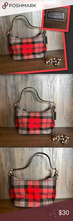 💋Coach Plaid Mini Purse💋 💋Coach Plaid Wool Mini Purse Beautiful Red Black and Gray colors with the rich black leather look and brown stitching. It has one zip compartment inside and one open compartment. It's been gently loved and used. Smoke free environment.💋 Coach Bags Shoulder Bags