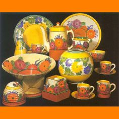 The Clarice Cliff Website - Gallery Clarice Cliff, Vintage Pottery, Pottery Art, Susie Cooper, Jaune Orange, Vintage Crockery, Modern Art Deco, China Painting, Retro Art