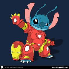 Stitch T-Shirt by IRON STITCH features Stitch from Disney's Lilo & Stitch wearing Marvel Comics superhero Iron Man's suit. Disney Pixar, Disney Art, Cute Disney, Baby Disney, Kawaii Disney, Iron Man Drawing, Lelo And Stitch, Lilo And Stitch Quotes, Toothless And Stitch