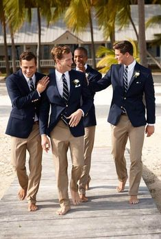 You can make yourselves look like a million bucks with wedding groomsmen suits that match all the stylish look of the great man who is getting married to the woman of his dreams! See more at wedwithbliss.com