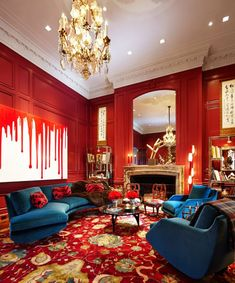Pin for Later: How to Decorate Based on Your Hogwarts House If Hogwarts was a boutique hotel, this is what the Gryffindor common room would look like: velvet sofas, golden chandeliers, and daring red walls. Best Interior, Living Room Interior, Interior Design Living Room, Luxury Interior, Bohemian Interior, Design Hotel, Maximalist Interior, Living Room Red, Common Room