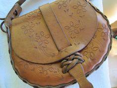 Floral design hand tooled leather handbag / by SandrasCornerStore