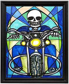 """11x14 Biker Skull Art Print in 11""""x14"""" Black Wood Frame Artisan Courtyard http://www.amazon.com/dp/B00N9ORV3I/ref=cm_sw_r_pi_dp_Ekbkvb0HKE2AG"""