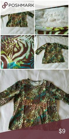 Kim Rogers 3/4 Length Sleeve Top Green, Blue, and Brown, and White... It used to be black instead of brown but it accidentally got bleached. ?? It's nonetheless pretty though! Super Soft and comfortable! No holes or tears or other discolorations. Kim Rogers Tops