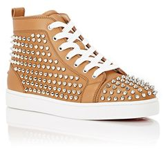 """Christian Louboutin Men's Spiked """"Louis Flat"""" Sneakers ($1,295) ❤ liked on Polyvore featuring men's fashion, men's shoes and men's sneakers"""