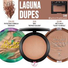 NARS Cosmetics Laguna Bronzer Dupes - All In The Blush I have another NARS Bronzer dupe to share wit Concealer, Drugstore Bronzer, Makeup Brands, Best Makeup Products, Beauty Products, Contouring Products, Highlighting Contouring, Beauty Dupes, Beauty Makeup