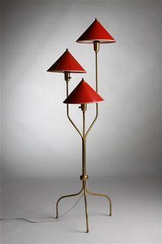 Floor lamp, China lamp. Designed by Josef Frank for Svenskt Tenn, Sweden. 1950's.