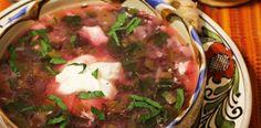 Ciorba de loboda rosie cu leurda si leustean. Supe, Salsa, Mexican, Beef, Ethnic Recipes, Travel, Food, Meat, Viajes