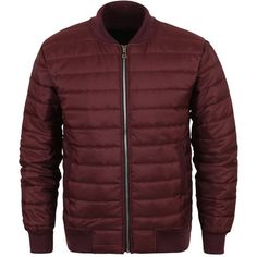 ililily Lightweight Solid Color Smooth Quilted Winter Blouson Puffer... ($36) ❤ liked on Polyvore featuring outerwear, jackets, quilted puffer jacket, light weight jacket, red quilted jacket, red puffer jacket and lightweight jackets