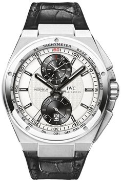 IWC Big Ingenieur Chronograph Rhodium dial with guilloche texture & black sub-dials.