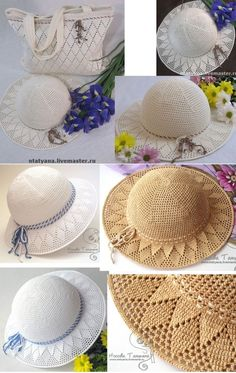 Crochet Summer Hat all in one – Pattern, Video, Chart Crochet Beret Pattern, Bonnet Crochet, Crochet Motifs, Crochet Stitches, Free Crochet, Crochet Patterns, Diy Crafts Crochet, Crochet Projects, Crochet Summer Hats