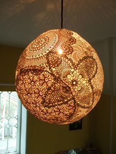 Doily lampshade by knitted owl, via Flickr