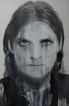 "Artist Annemarie Busschers (Dutch: 1970) - Acrylic 2012 Painting ""self-portrait"""
