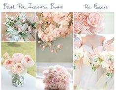 Blush pink wedding flowers, decor