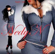 NedyN farmer kék steppelt  szőrmés női blézer és szoknya szett