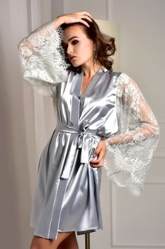 0f2337847c Bridesmaid robe Robe with lace sleeves Kimono robe Wedding robe Lace robe  Kimono dressing gown Robes for women Bridal robe Satin lace robe