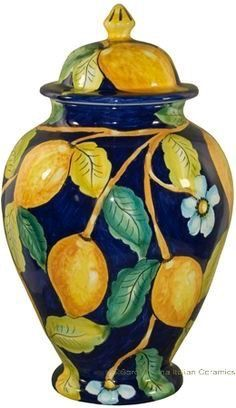Beautiful Mantel/Centerpiece Urn - Blue Lemon Style - Dimensions: 11 inches high x inches wide x Holds 88 ounces cubic inches or Quarts) Ceramic Painting, Ceramic Art, Ceramic Pottery, Pottery Art, Pottery Painting Designs, Italian Pottery, Tuscan Decorating, Italian Art, Sculpture Clay