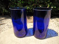 Blue Juice Glasses made from Upcycled  glass bottles by ConversationGlass on Etsy, $30.00