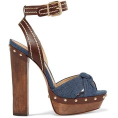 Schutz Dalla embellished leather and denim sandals ($145) ❤ liked on Polyvore featuring shoes, sandals, blue, high heel shoes, embellished sandals, leather sandals, ankle wrap sandals and blue sandals