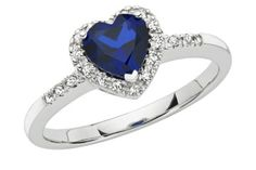 1/10 CT Diamond TW And 7/8 CT TGW Created Blue Sapphire Heart Ring 10k White Gold GH I2;I3