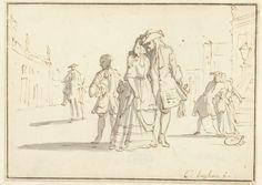 Moor, ruiter en een liefdespaar Luyken, Caspar 1682 - 1708