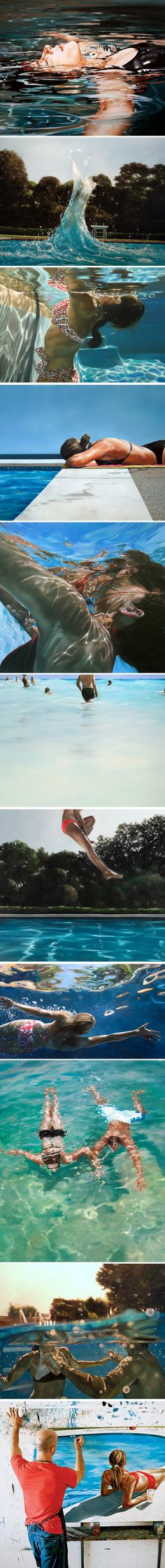 Hyper-Realistic Paintings by Eric Zener I can't get enough of hyper realistic art Eric Zener, Hyper Realistic Paintings, Realistic Drawings, Water Art, Water Water, Realism Art, Banksy, Love Art, Amazing Art