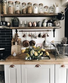 This homy style brings a friendly and inviting atmosphere to any home. Doesn't matter you live in the town or countryside, you owe big or small kitchen, you can create really unique and welcoming rustic kitchen design. Rustic Kitchen Decor, Home Decor Kitchen, Diy Kitchen, Kitchen Interior, Home Kitchens, Kitchen Dining, Kitchen Ideas, Kitchen Jars, Rustic Kitchens