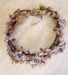 Hermosa Antigua Francesa Cera flor en capullo Tiara