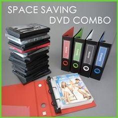 DVD Binder Storage Set for 20 DVDs' Movie Covers & Booklets. Space saving DVD storage binder set Saves space over standard DVD boxes Dvd Storage Binder, Diy Dvd Storage, Movie Storage, Book Storage, Storage Ideas, Dvd Storage Solutions, Dvd Storage Shelves, Picture Storage, Sticker Storage