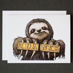 Sloth Premium Thank You Notes Set // Matte Textured Cards with Felt Envelopes Online Art Store, Thing 1, Thank You Note Cards, Black Artwork, Hand Illustration, Mail Art, Sloth, Paper Texture, Creatures