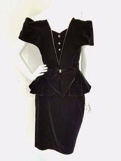 vtg 80s TNB Black Velvet Off Shoulder Peplum Dress Tuxedo Look Rhinestones MED #TNB #Peplum #Formal