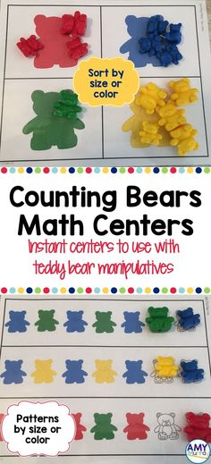 Counting Bears Math Centers (patterns & sorting) - instant centers to use with teddy bear counter manipulatives.