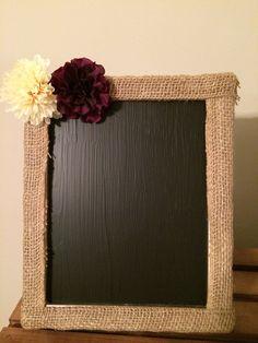 Burlap framed chalkboard, rustic chalkboard, rustic wedding, rustic decor, country wedding, chalkboard sign 8x10 on Etsy, $14.00