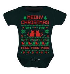 TeeStars - Cute Xmas Bodysuit - Meowy Christmas Ugly Sweater Design Baby Onesie 0 - 3 months Black