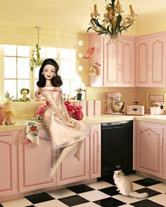 Barbie Doll in Sweet Day. by little dolls room, prettiest pink kitchen cabinets Barbie Room, Barbie House, Pink Kitchen Cabinets, Kitchen Floors, Checkered Floors, Barbie Diorama, Barbie Collector, Barbie Furniture, Barbie Friends